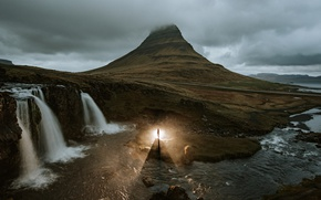 Picture clouds, light, river, stones, people, mountain, waterfall, Iceland