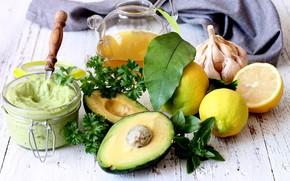 Picture lemon, oil, sauce, parsley, garlic, avocado