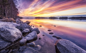 Picture sunset, shore, lake