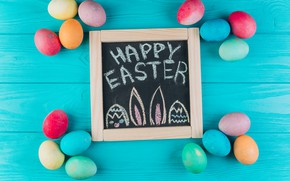 Picture eggs, colorful, Easter, Board, wood, spring, Easter, eggs, decoration, Happy