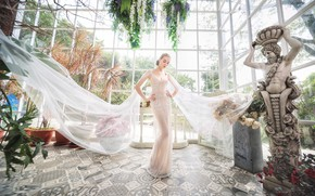Picture face, style, background, model, garden, figure, dress, fabric