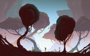 Wallpaper trees, fog, tale