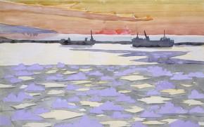 Picture 1915, Battleships, Charles Ephraim Burchfield, icebreakers