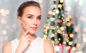 Picture decoration, glare, background, holiday, toys, new year, Christmas, makeup, hairstyle, tree, brown hair, beauty, in …