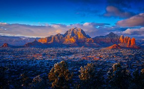 Picture the sky, clouds, mountains, panorama, town