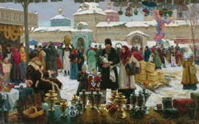 Wallpaper barrels, Vladislav NAGORNOV, Fair, bucket, Church, gingerbread, winter, 1999, oil, Canvas, samovars, balls