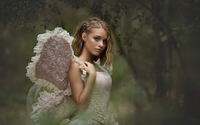 Wallpaper nature, butterfly, wings, girl, blonde