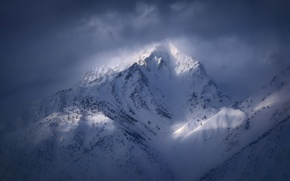 Picture winter, clouds, light, snow, mountains, mountain