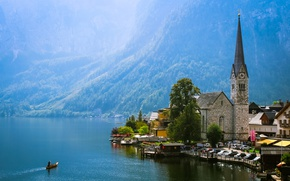 Picture sky, landscape, nature, beautiful, mountains, view, clouds, rocks, searching, valley, Austria, Hallstatt, wind, plants, town, …