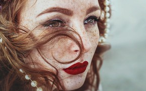 Picture look, face, lipstick, lips, freckles, red, redhead