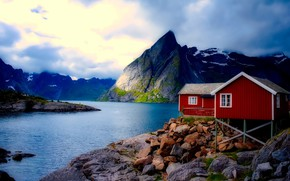 Picture the sky, clouds, mountains, Norway, houses