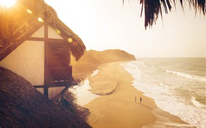 Picture beach, light, people, the ocean, house