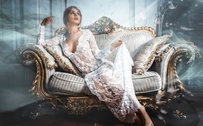 Picture pose, style, sofa, model, pillow, makeup, figure, dress, hairstyle, brown hair, beauty, sitting, in white, …