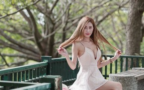 Picture face, Park, hair, dress, Asian