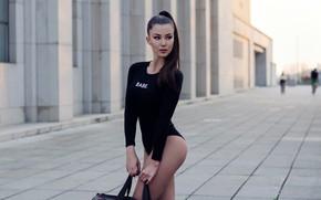 Picture pose, model, makeup, figure, slim, brunette, hairstyle, bag, is, in black, bokeh, body, Denisa, DSPHY, …
