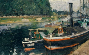 Picture landscape, ship, picture, Camille Pissarro, Barges at PONTOISE