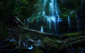 Picture girl, stones, waterfall, dress, TJ Drysdale, On The Other Side