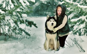Picture winter, snow, nature, dog, Girl