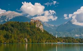 Picture mountains, rock, lake, castle, Slovenia, Slovenia, Radovljica, lake Bled