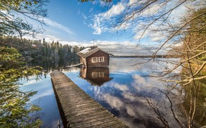 Wallpaper Finland, lake, house, the bridge, forest