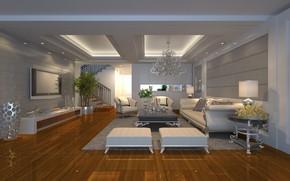 Wallpaper living room, Luxury, interior, furniture, chandelier, living room