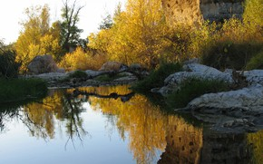 Picture autumn, trees, lake, reflection, stones, rocks