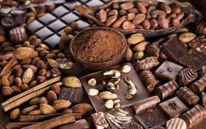 Picture chocolate, candy, nuts, chocolate, nuts, cocoa, sweets, candy