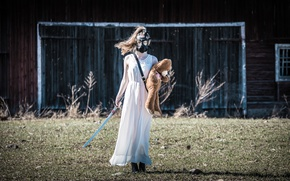 Picture girl, sword, bear, gas mask, Apocalypse