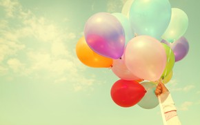 Picture summer, the sun, happiness, balloons, stay, colorful, summer, sunshine, happy, beach, vacation, balloon