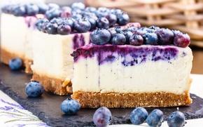 Wallpaper blueberries, dessert, cheesecake