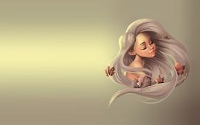 Picture autumn, girl, sheet, the wind, art, maple, maple leaf, Dennia (Laura Garcia)