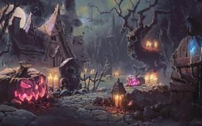 Picture night, house, bird, the moon, candles, pumpkin, Raven, the full moon, halloween, art, headstone, grave