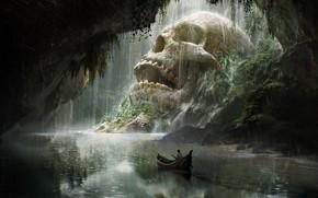 Picture boat, skull, art, fantasy, journey, Quentin Mabille, Skull Cave