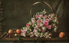 Wallpaper buds, roses, basket, basket, still life, cherry, nectarines