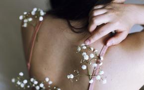 Picture girl, back, flowers, gypsophila