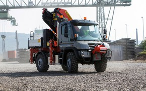 Picture Mercedes-Benz, crane, composition, gravel, body, crushed stone, manipulator, machinery, Unimog, U527