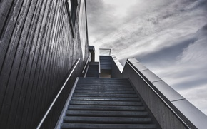 Picture sky, stairs, gray and black colors