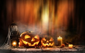 Picture pumpkin, Halloween, holiday, candles
