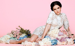 Picture flowers, background, pink, makeup, figure, dress, actress, brunette, hairstyle, shoes, beauty, in white, on the …