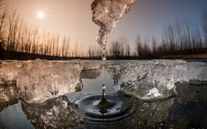 Wallpaper spring, the sun, ice, drop, water, macro