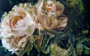 Picture flowers, art, peonies, Marcella Kaspar, Marcella Kaspar
