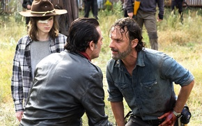 Picture Jeffrey Dean Morgan, Season 7, The Walking Dead, Andrew Lincoln, Chandler Riggs, walking, 16 series