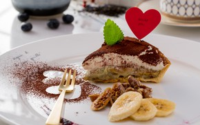 Picture the sweetness, banana, cakes, Cake, Nuts, Mint
