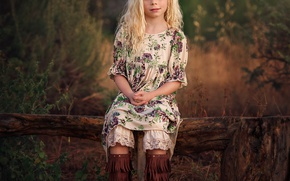 Picture boots, dress, girl, braids, curls, Waiting, Country Girl, Edie Layland