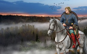 Wallpaper Horse, Shield, Slavic Warrior, Mail, Ancient Rus, Sword, Forest
