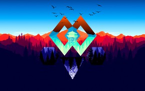 Picture Mountains, The game, Forest, View, Birds, Hills, Figure, Tower, Campo Santo, Firewatch, Fire watch