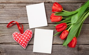 Picture love, flowers, bouquet, hearts, tulips, red, love, wood, flowers, romantic, hearts, tulips, Valentine's Day, gift