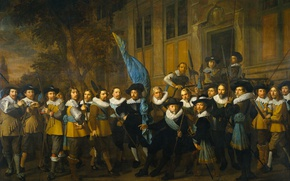 Picture oil, picture, canvas, The company Captain and Lieutenant. Amsterdam, Nicolaes Eliasz Pickenoy