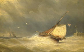 Picture storm, boat, picture, sail, seascape, Stormy Sea with Sailing Vessels, Georges Johannes Hoffmann