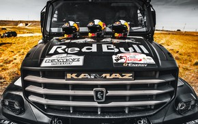Picture Logo, Truck, The hood, Master, Russia, Kamaz, Rally, Rally, KAMAZ, The front, The roads, RedBull, ...